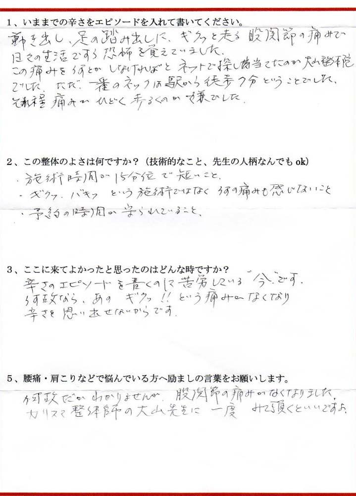 東京都小平市在住 お客様の声:No.1674